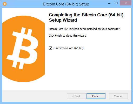 bitcoin core wallet installation finish